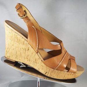 Franco Sarto Cadmus Tan Leather Cork Wedge-Size 9M